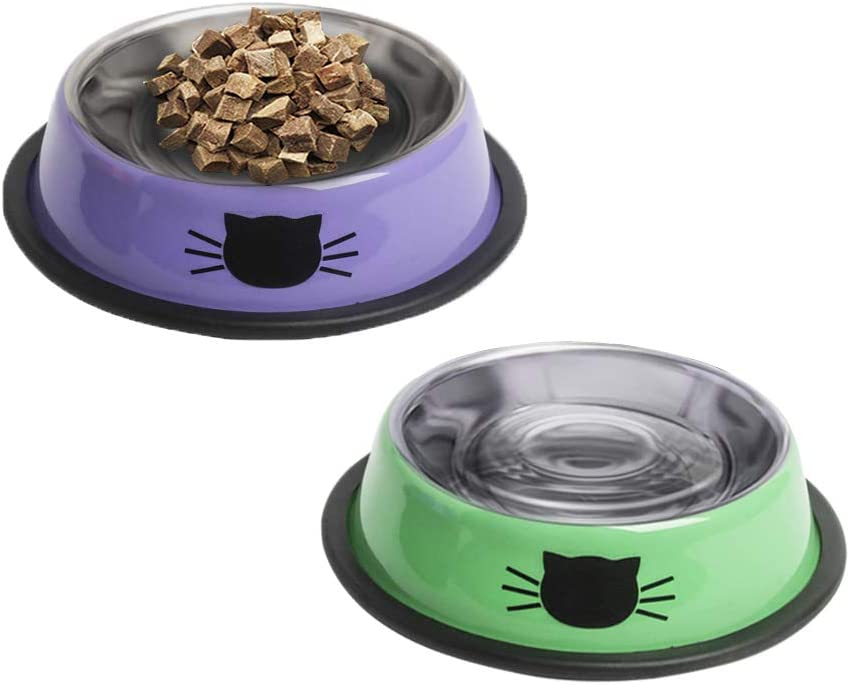 YATAOME Cat Food and Water Bowls Set Metal Stainless Steel Non-Skid Rubber Base Easy to Clean Pet Dry or Wet Food Dish with Cute Pattern for Small Dogs Kitten Puppy Rabbits, 2 Pack (Purple, Green)