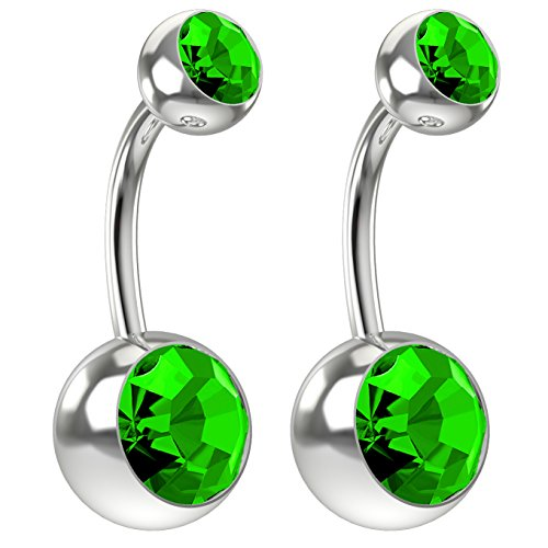 Peridot Swarovski Ring Crystal (2pc 14g Swarovski Crystal Belly Button Ring CZ Peridot Green Jeweled 8mm Sexy Women Navel Rings)