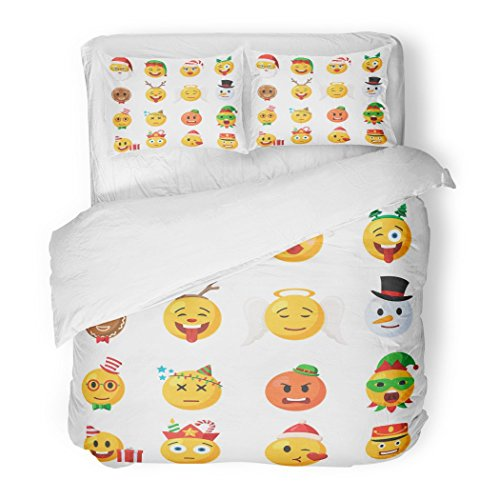 SanChic Duvet Cover Set Christmas Emoticons Festive Collection Characters Emoji Face in Cartoon Style on White Decorative Bedding Set with 2 Pillow Shams Full/Queen ()