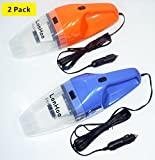 LonHoo 2 Pack Car Vacuum Cleaner High Power, DC 12V ,120W Portable Lightweight Wet & Dry Auto Handheld Vacuum Cleaner with 16.4 FT(5M) Power Cord (Orange x 1 Blue x 1)
