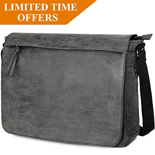 Mens Laptop Messenger Bags 15.6 Water Resistant Shoulder Bag Tocode PU Leather Canvas Satchel Crossbody Bags Brifecase Office Bag Large Computer Bag for Work College School Travel, Black