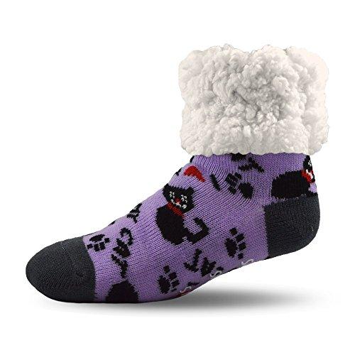(Pudus cat purple adult regular cozy winter classic slipper socks with grippers)