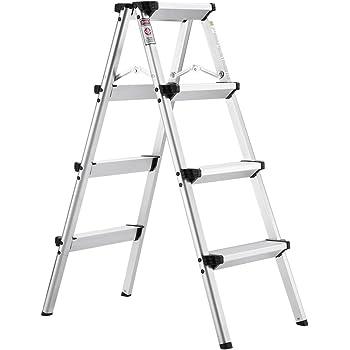 Finether Folding 4 Step Aluminum Ladder 300lb Capacity