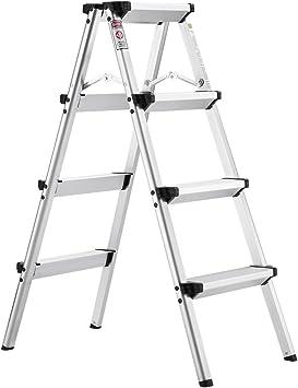 Finether-Escalera de Tijeras Plegable Escalerilla Domésctica de Alumnio Taburete con Escalera Portátil Escalera de Mano, 2 x 4 peldaños, 3.2FT, en 131, Capacidad de 150KG: Amazon.es: Bricolaje y herramientas