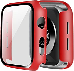 ONMROAD Compatible with Red Apple Watch Case 44mm Series 6 SE Series 5 Series 4 with Screen Protector, High Sensitive Tempered Glass and PC Protective Cover for iwatch