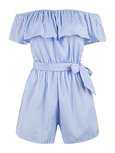 PERSUN Womens Summer Blue Stripe Off Shoulder Ruffle Tie Waist Romper Playsuit,Medium
