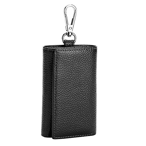 (HOLLY TRIP Unisex Compact Premium Leather Key Case Wallet Keychain Key Holder Ring with 6 Hanging Buckle Hooks Snap Closure, Black)