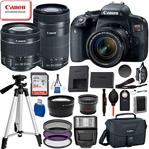 Canon EOS Rebel T7i Digital SLR Camera with EF-S 18-55mm is STM and EF-S 55-250mm is STM Lens (Black) 19PC Professional Bundle Package Deal –SanDisk 64gb SD Card + Canon Shoulder Bag + More