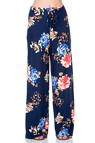 5 Pocket Wide Leg (Hershe Women Floral Print High Drawstring Waist Wide Leg Palazzo Pocket Pants Plus Size (1X-Large, A3214PCAO Navy))