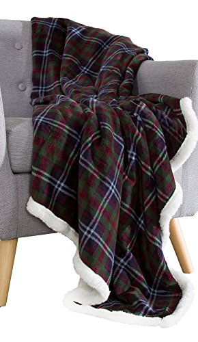 Bedford Home 61A-01690 Fleece Sherpa Blanket Throw-Plaid Green/Red