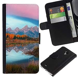 All Phone Most Case / Oferta Especial Cáscara Funda de cuero Monedero Cubierta de proteccion Caso / Wallet Case for Samsung Galaxy S4 Mini i9190 // Mountain Lake Glow