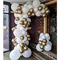 Pateeha White Gold Balloons 101PCS 12In Round Latex Balloons Party Balloons Arch Kit for Wedding Party Bachelor Party Baby Shower Birthday Party Supplies