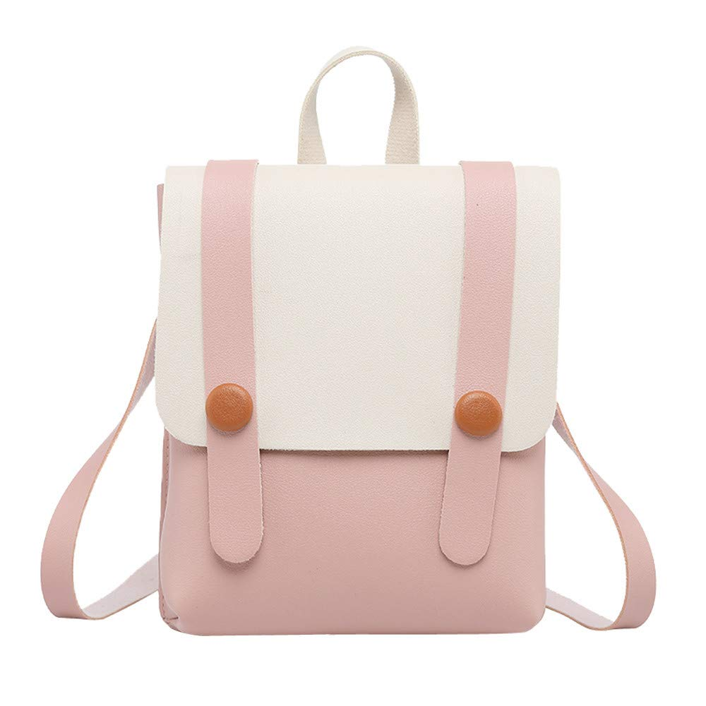 Vacally Women Girl Hit Color Leather Student Backpack School Bag Shoulder Bag