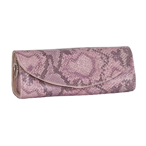 Mele & Co. Lorena Travel Jewelry Roll in Pink Snakeskin Faux Leather (Lined Snakeskin Clutch)