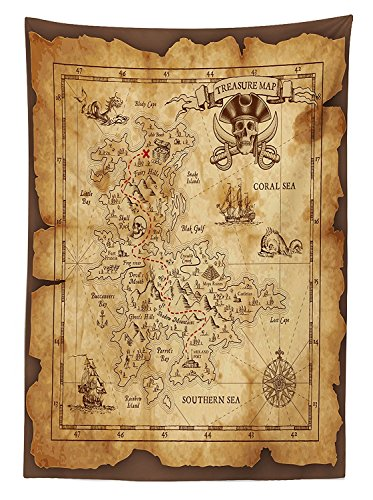 vipsung Island Map Decor Tablecloth Super Detailed Treasure Map Grungy Rustic Pirates Gold Secret Sea History Theme Rectangular Table Cover for Dining Room Kitchen Beige -
