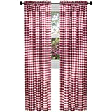 ArtOFabric Checkered Polyester Gingham Curtain Panel (Set Of 2) RED (58 X  84 Inch)