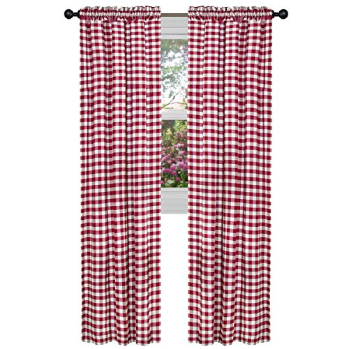 (ArtOFabric Checkered Polyester Gingham Curtain Panel (Set of 2) RED (58 X 63 Inch))