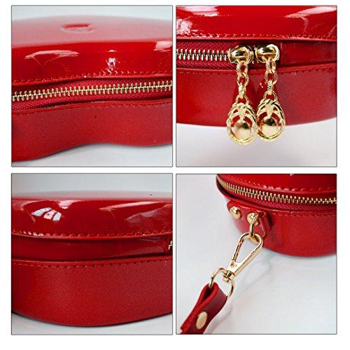 Shoulder Millya Heart Mini Bag Holder Cosmetic Women's PU Leather Shaped Handbag Red Red Crossbody waaAf0H