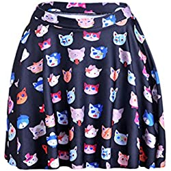 Girls Elastic Waist Cartoon Cats Printed Flared Pleated Skater Skirt Small