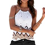 Ankola Women Tank Tops, Women Summer Sleeveless Boho Casual Halter Vest Tank Tops Blouse T-Shirt Women Beach Wear (XL, White)