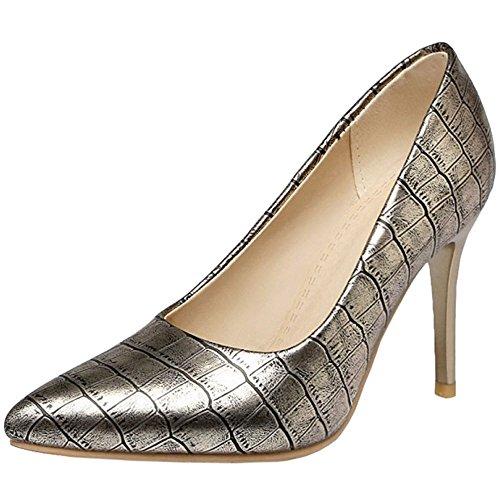 Aufdruck Gericht Frauen Gold Elegante Stiletto COOLCEPT Party Kleid Schuhe mit az8xawqn
