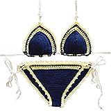 Women Sexy Handmade Crochet Bikini Set Brazilian Swimsuit Swimwear Bathing Suit