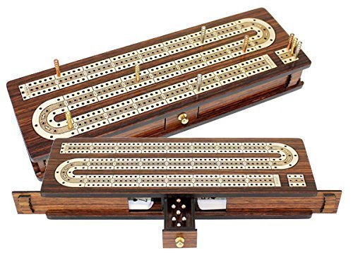 "House of Cribbage - Continuous Cribbage Board / Box Inlaid in Rosewood / Maple 12"" - 3 Tracks - Sliding Lid Drawer"