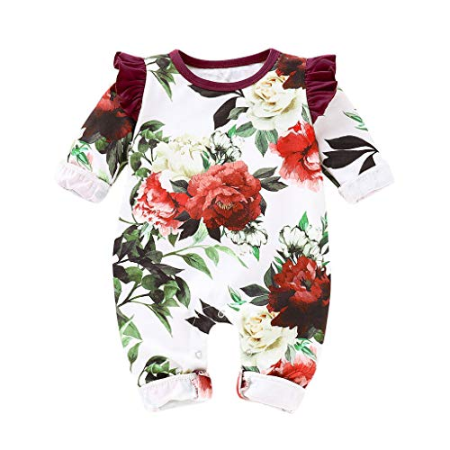 Kehen Infant Baby Toddler Girl Boy Spring Clothes Cotton Pajamas Long Sleeve Flower Print Romper Jumpsuit Wine 6-12 Months