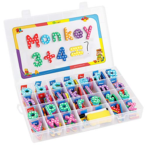 - D-FantiX Magnetic Letters and Numbers, 209Pcs Foam Magnetic Alphabet Uppercase Lowercase Letters ABC Refrigerator Magnets Blocks Symbols Set with Whiteboard for Classroom Home Educational Spelling