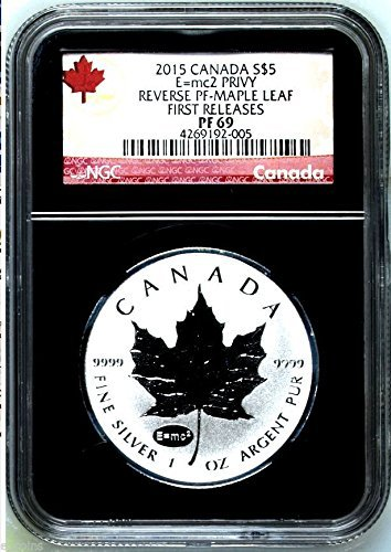 2015 Canada .9999 Silver Coin Maple Leaf Reverse Proof E=MC2 FIRST RELEASES $5 PF69 NGC
