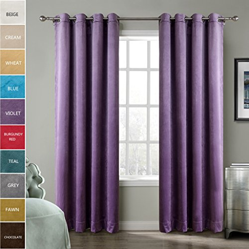 (ChadMade Blackout Lined Premium Velvet Curtain Voilet 50Wx84L Inch (1 Panel), Eyelet Grommet For Livingroom Bedroom Theater Studio, BIRKIN Collection)