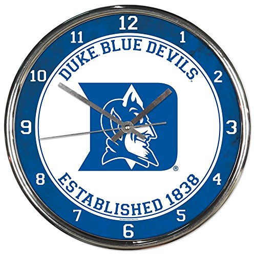 Duke Blue Devils NCAA 12 Inch Round Chrome Plated Wall Clock Duke Blue Devils Mascot
