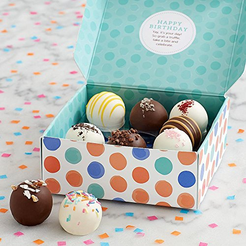 Shari's Berries - Birthday Cake Truffles - 9 Piece - 9 Count - Gourmet Baked Good Gifts