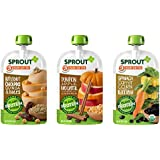 Sprout Organic Baby Food Stage 3 Sprout Baby Food Plant Powered Protein Pouches Variety (18 pack) 6 Butternut Chickpea w/Dates, 6 Pumpkin Apple Red Lentil, 6 Spinach Carrot Corn & Black Bean