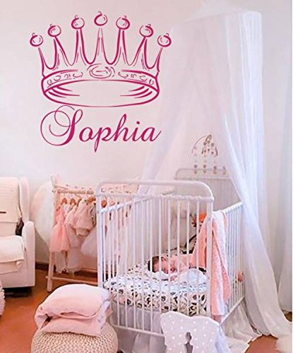 Housewares Vinyl Decal Princess Crown Personalized Name Home Wall ...