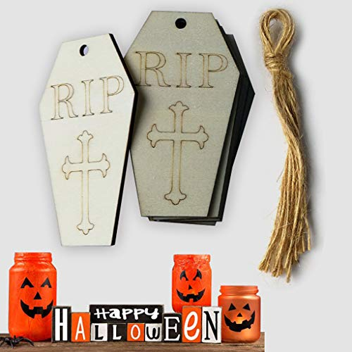 EA-Stone Hanging Ornaments,10Pcs Wood Halloween Tombstone Hanging Pendant Home Decor DIY Ornament with Rope]()