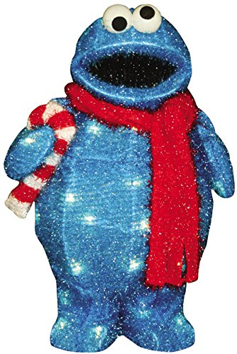 ProductWorks 18-Inch Pre-Lit Sesame Street Cookie Monster with Candy Cane Christmas Yard Decoration, 35 - Lit Pre Christmas Decorations
