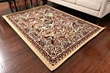 Generations New Beige Oriental Traditional Isfahan Persian Area Rugs Rug 8054beige 5'2 x 7'3 For Sale