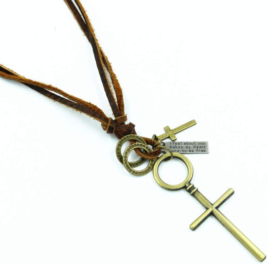 GJJ Collar De Cuero Cruzado para Hombre - Collar De Jesús Religioso Collar De Cuero para Mujer Envejecido De Primera Capa,Oro