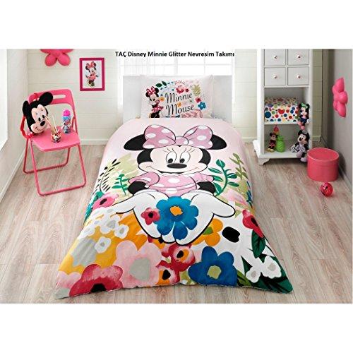 Single Kids Bedding - Minnie Mouse Glitter %100 Cotton Girl's Kid's Duvet/Quilt Cover Set Single / Twin Size Kids Bedding