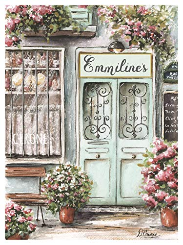 Vintage Paris French Bistro Wine Shop, Personalized Custom Name Gift Idea, UNFRAMED Fine Art Print, Soft Green Blush Pink Flowers, Provence, 6 Sizes, 5x7 to 24x36