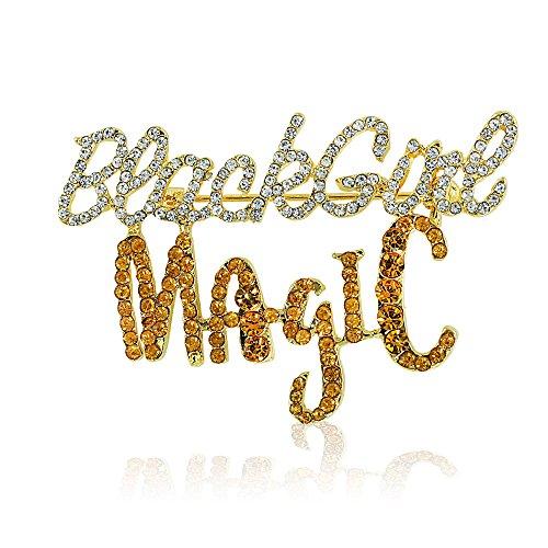 Black Girl Magic Sparkling Crystal Brooch (Gold Toned)