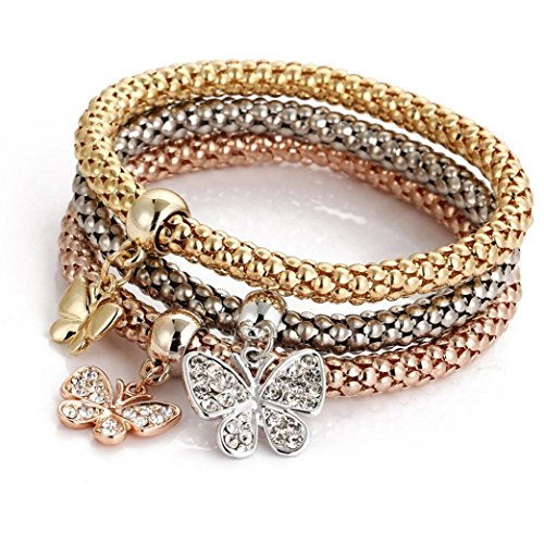 BEUU Hot Sale Tri-Color Suits Popcorn Corn Chains Charm Women Bracelet Gold Silver Rose Rhinestone Bangle Jewelry Set (A)