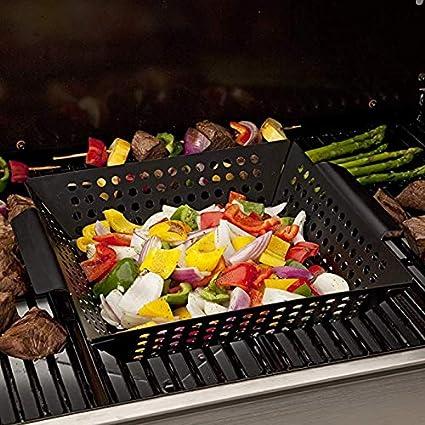 ahumador Delleu Cesta para Vegetales Accesorios para asados para Asar Verduras,Pescado,Carne,Pizza,Uso como Wok,sart/én Parrillas de carb/ón o Gas Utensilios de Cocina para Acampar