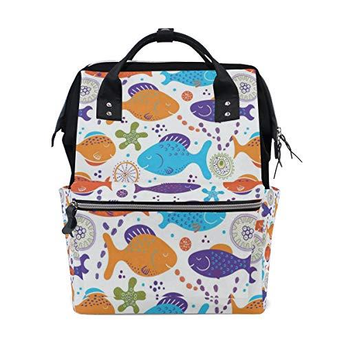 (Backpack Ocean Sea Aquaitc World Shells Starfish Customized Large-Capacity Handbag Travelling Daypack for Men/Women)
