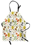 Lunarable Animals Apron, Woodland Forest Animals Trees Birds Owls Fox Bunny Deer Raccoon Mushroom Print, Unisex Kitchen Bib Apron with Adjustable Neck for Cooking Baking Gardening, Multicolor