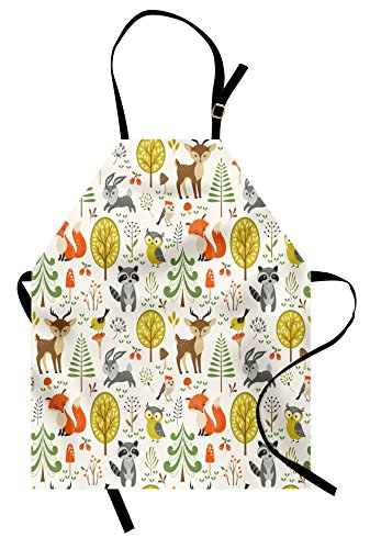 Animals Apron by Lunarable, Woodland Forest Animals Trees Birds Owls Fox Bunny Deer Raccoon Mushroom Print, Unisex Kitchen Bib Apron with Adjustable Neck for Cooking Baking Gardening, Multicolor (Apron Woodland)