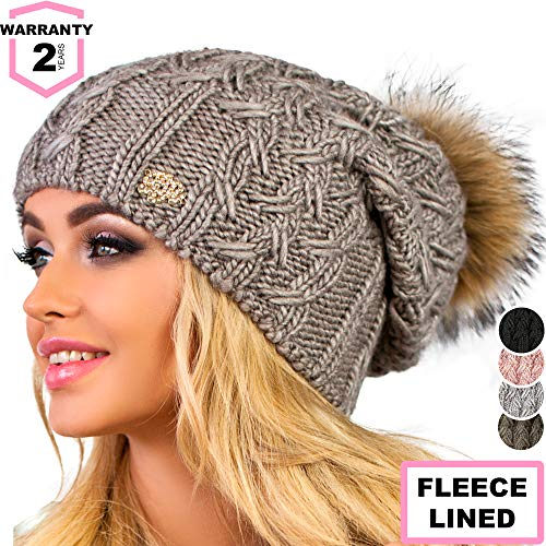 Braxton Hats Winter Beanie for Women with Raccoon Fur Pom-pom, Fashionable Merino Wool Knit Hat with Fleece Lining, is Perfect for Cold Weather (Dark Coffee)