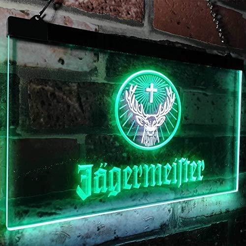 zusme Jagermeister Deer Drink Bar Novelty LED Neon Sign White + Green W16 x H12