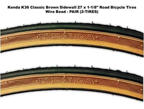 "Kenda 27 x 1-1/8"" Road Bicycle Tire Set, Wire Bead, Classic Brown Skinwall Sidewall - Pair (2 Tires)"